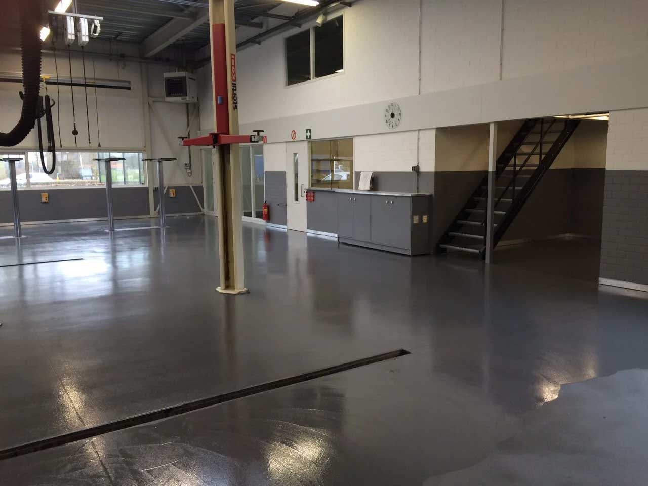 Coated floor garage